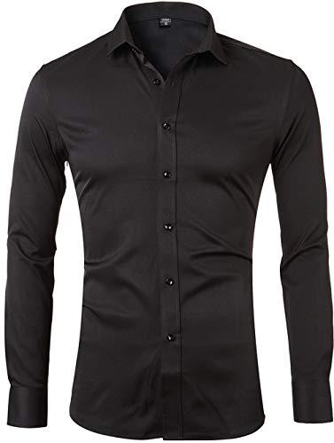 Men's Bamboo Fiber Dress Shirts Slim Fit Solid Long Sleeve Casual Button Down Shirts, Elastic Formal Shirts for Men,Black Shirts,15'Neck 32'Sleeve