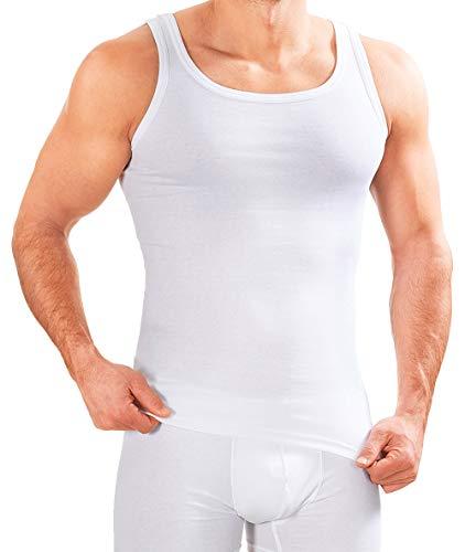 MERISH Herren Unterhemd 5er Pack Tank Top Feinripp Baumwolle Weiß T-Shirt 400 (M, 400 5er Pack Weiß)
