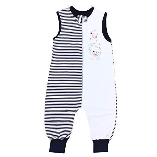 TupTam Baby Unisex Winter Schlafsack mit Beinen, Farbe: Streifenmuster Dunkelblau, Größe: 92-98