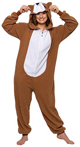 FUNZIEZ! Unisex Bulldog Pajamas - Plush Novelty Dog Costume Jumpsuit (Brown, M)