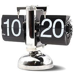 Betus Flip Desk Clock - Mechanical Retro Style -Digital Display Battery Powered - Home & Office Décor 8 x 6.5 x 3 Inches (Black)