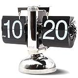 Betus Reloj de Estante de Escritorio con Tapa Estilo Retro Pantalla Digital mecánica clásica con batería - Decoración para el hogar y la Oficina 8 x 6.5 x 3 Pulgadas (Negro)