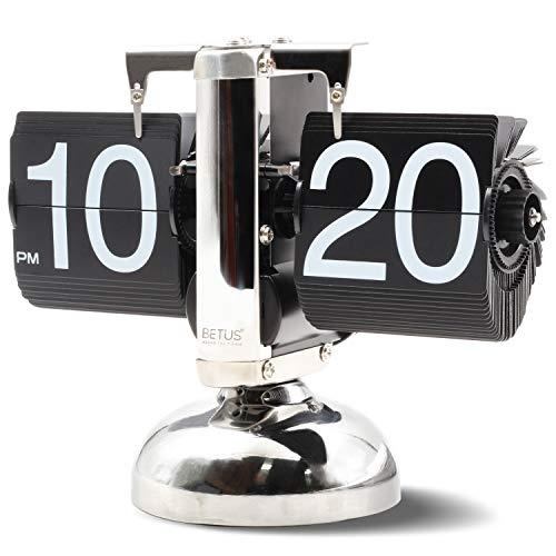 Betus Retro-Stil Flip Desk Shelf Clock - Klassische mechanische Digitalanzeige batteriebetrieben - Home & Office-Dekor 8 x 6,5 x 3 Zoll (schwarz)
