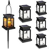 6-Pack Solar Hanging Lantern Outdoor, Candle Flickering Flame Effect LED Solar Lights, Warm White, Decorative Lighting with Stakes for Patio, Garden, Lawn, Deck, Umbrella, Tent, Tree, Yard- Waterproof
