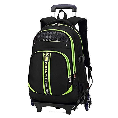 XWWS Wheeled School Backpacks - Boys Trolley Schoolbag, Detachable Kids Trolley Bag, Best Gift,Green