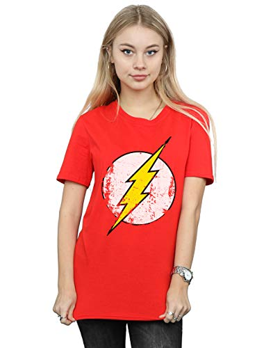 DC Comics Mujer The Flash Distressed Logo Camiseta del Novio Fit Rojo Medium