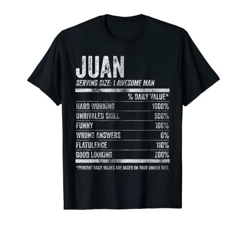 Hombre Juan Nutrition Nombre Personalizado Camisa Datos Divertidos Camiseta