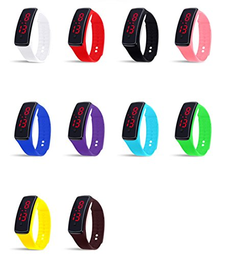 CdyBox Unisex Silicone LED Digital Creative Touch Screen Sport Watch Bracelet 10 Pack
