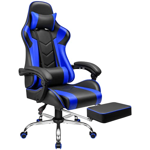 Furmax Gaming Chair Office Chair Ergonomic Racing Style Computer Chair with Footrest High Back Video Game Chair Adjustable Swivel Chair with Headrest and Lumbar Support (Blue)