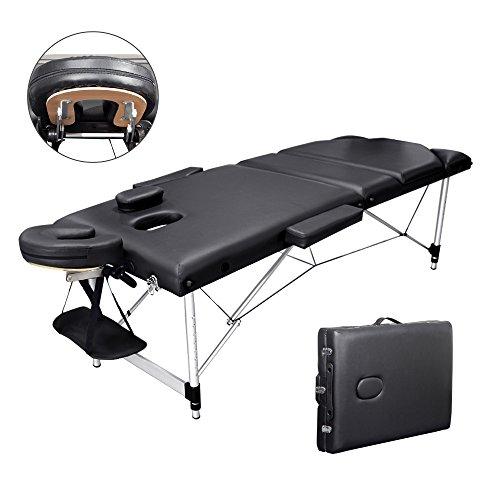 Vesgantti Massageliege Massagestuhl Holz Kosmetikliegen 3 Zonen Mobile Tragbar Massagetisch klappbar höhenverstellbar Therapieliege (Black- Alurahme)