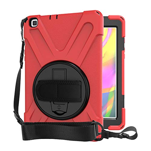QYiD Case for Galaxy Tab A7 10.4' 2020 SM-T500/T505/T507, Cubierta Resistente Duradera a Prueba de Golpes con Soporte/Correa de Mano para Samsung Galaxy Tab A7 10.4 Pulgadas 2020, Rojo