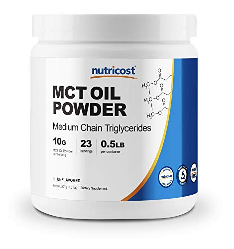 Nutricost Premium MCT Oil Powder .5LBS - Best For Keto, Ketosis, and Ketogenic Diets - Zero Net Carbs, Non-GMO and Gluten Free