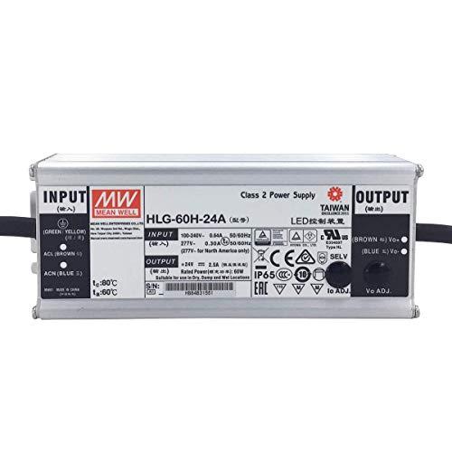 HLG-60H-24A: MEAN WELL LED-Netzteil 60W, 24V, IP65, Spannung & Strom einstellbar (24V 60W)