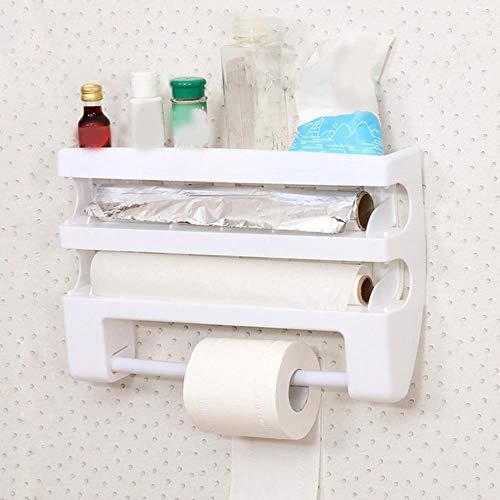 Cocina Cling Film Storage Rack Wrap Cutter Refrigerador Colgante de pared Toalla de papel Organizador multifunción para el hogar