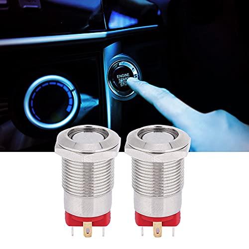Interruptor de botón de metal con luz LED, conector PIN 3~9V / 9~30V / 100~240V (uno normalmente en el acero inoxidable de luz de WiFi hecho (verde)