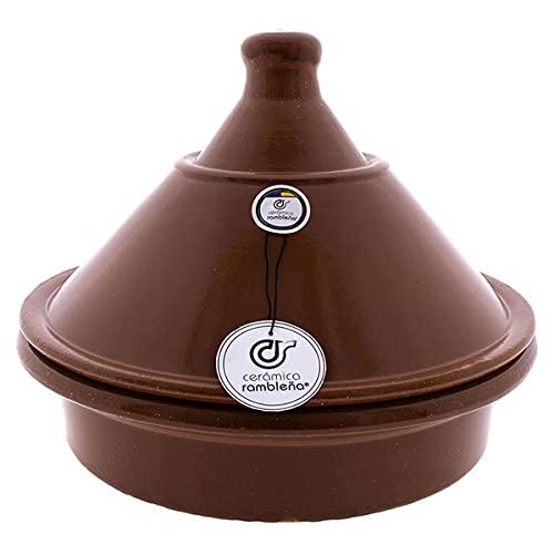 CERÁMICA RAMBLEÑA | Tajín barro refractario con tapadera | Tajín fuego directo | Tajín cerámica tradicional | Tajín para horno | Tajín con tapadera 31x31x25 cm