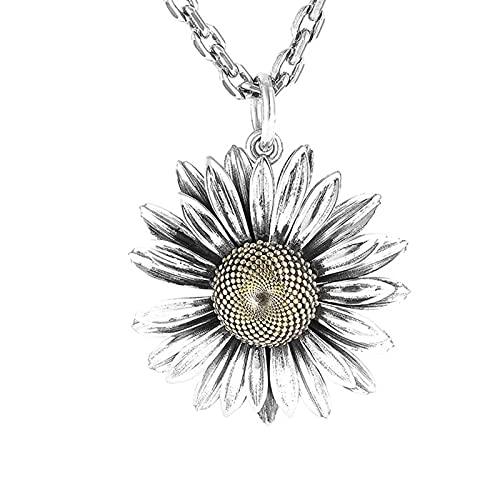 MINGDIAN Collar con Colgante de Flor de Margarita pequeña de Verano, Collar de Plata con Personalidad Retro para Hombre para Novio
