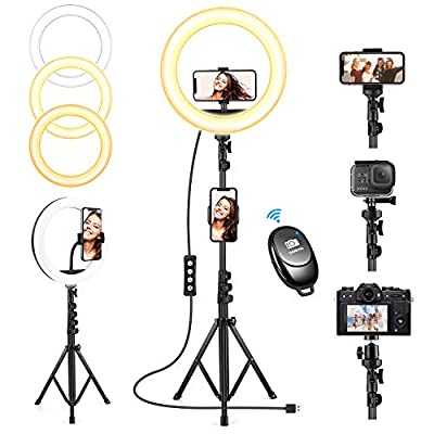 10'' Selfie Ring Light with Tripod Stand, Upgraded Dimmable Camera LED Ring Light with 3 Phone Holder for TikTok/YouTube/Live Stream/Vlog/Makeup/Camera/Photography Compatible with iPhone Android from OYRGCIK