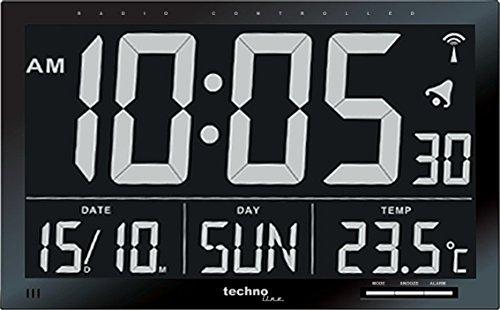Technoline, WS 8007 Funk-Wanduhr, schwarz, 36,8 x 2,9 x 22,8cm