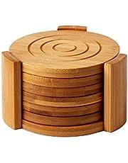 Juego de 6 posavasos de bambú Juvale, absorbentes y condensación de madera con soporte, posavasos redondos para bebidas frías y bebidas calientes, diseño contemporáneo - bronceado, 4.3 pulgadas