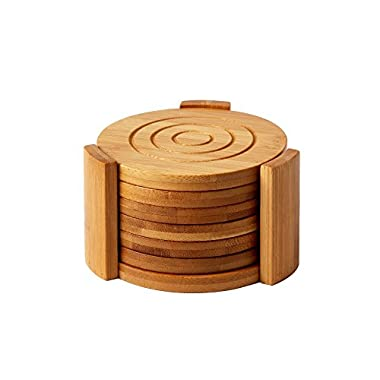 Juvale Bamboo Coasters 6-Pack Set - Absorbent and Condensation Wooden Coasters With Holder - Round Cup Coasters for Cold Drinks and Hot Beverage, Contemporary Design - Tan, 4.3 Inches
