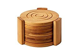 Juvale Bamboo Coasters 6-Pack Set - Absorbent and Condensation Wooden Coasters with Holder - Tan, 4.3 Inches