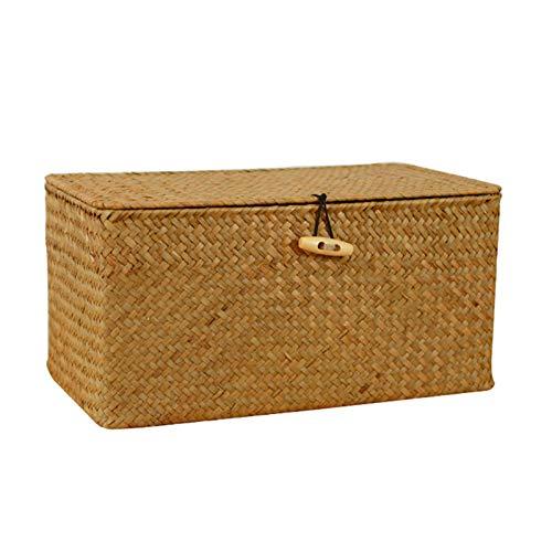 DFGH Cestas almacenamiento,cesta mimbre,almacenamiento tejido con tapa,artículos diversos ratán,caja almacenamiento,cesta mimbre,cajas clasificación hechas a mano,organizador joyas hierba marina