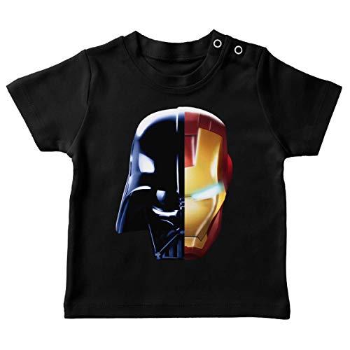 T-Shirt bébé Noir Parodie Star Wars - Iron Man - Dark Vador, Iron Man et Daft Punk - Dark Punk - Get Darky : (T-Shirt de qualité Premium de Taille 18 Mois - imprimé en France)