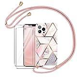 AROYI Funda con Cuerda Compatible con iPhone 12 / iPhone 12 Pro con 2 Pack Cristal Templado con Correa Colgante Ajustable Carcasa Silicona Mármol - Oro Rosa