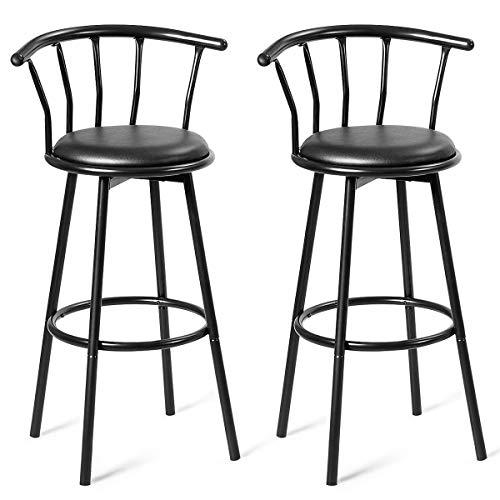 GOPLUS 2er Set Barhocker, Bar-Stuhl mit um 360°drehbarem Sitz, Tresen-Hocker aus Stahl und Leder mit gepolsterter Sitzfläche, Rückenlehne, für Bar, Küche, Restaurant (Modell 1)