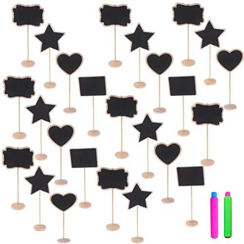 BraveWind - Pizarra pequeña con Soporte de Madera para Pizarra, Carteles de Mensajes, decoración de Plantas, letreros de Comida, números de Mesa, corazón