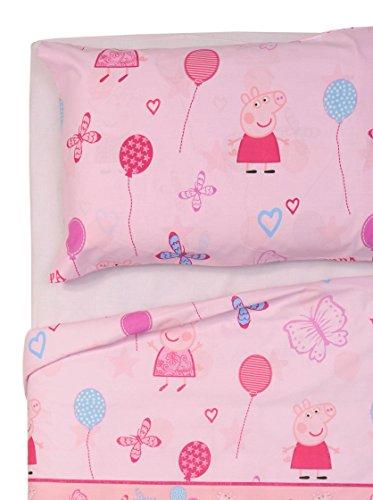 Peppa Pig Juego de sábanas Butterfly rosa para cama individual, 150 x 280 cm