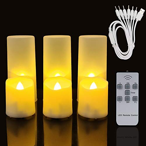 Rechargeable Flameless Tea Lights Candles with Remote and Timer, Flickering Led Vovite Candles, 6PCS Warm White LED Tealights with USB Charging Cable and Frosted Cups, Romantic Home, Festival Decor