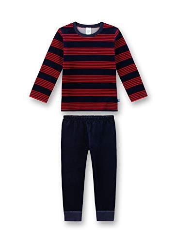 Sanetta Jungen Nicki-Schlafanzug, dunkelblau-rot gestreift 232306 gr.128