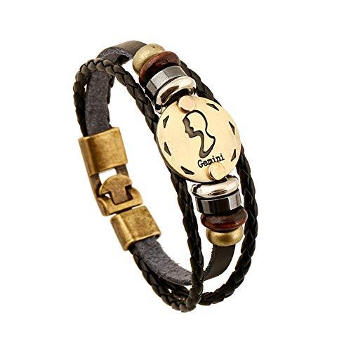 VCOROS R1 Constellation Punk Alloy Leather Bracelet Braided Rope Bracelet Bangle with Gift Packing (Gemini)
