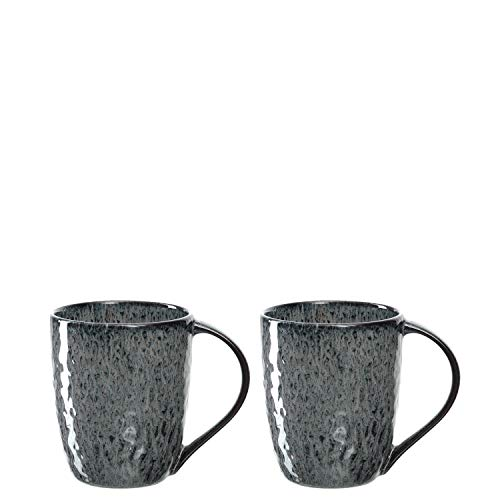 Leonardo Tasse Matera 2-er Set, 430 ml, Set aus 2 Keramik Tassen, spülmaschinengeeignet, mit Glasur, anthrazit, 027002