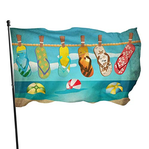 Seasonal Flag for Outdoors, Slipper Hanging on The Beach Yard Flags | Durable, Polyester, 3X5 ft