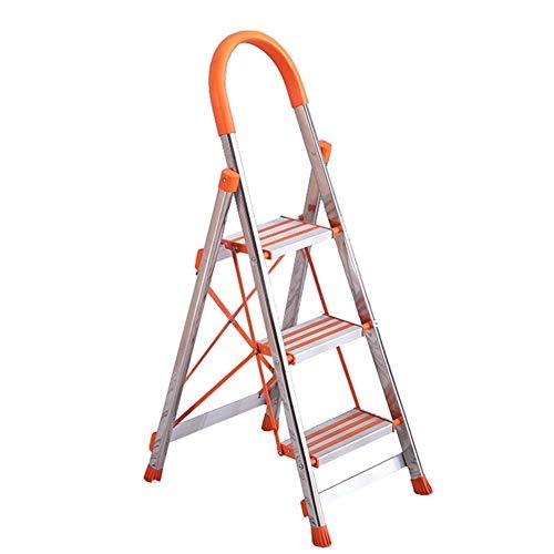 ZCJB Taburete de escalera Plegable Escaleras de 3 Peldaños, Taburete Escalonado de Aleación de Aluminio con Pasamanos de Esponja Naranja y Almohadilla de Pie Antideslizante, 150kg de Capacidad Escaler