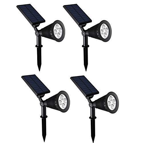 Chao Zan - Faretti LED a energia solare, per esterni, luce bianca fredda, impermeabili, 4 pz