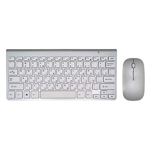 Angle-w Teclado de radio hebreo ultrafino de diseño elegante, combo de ratón inalámbrico DPI 1200 y adaptador de minifalda para Mac Win XP/7/10 Android TV Box 2.4G teclado para juegos (color: KS MS)