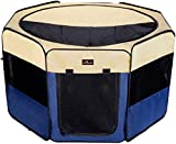 Aivituvin Dog Playpen 29.5' Portable Puppy Pen Compatible Small & Large,Kitten,Rabbit,Cat Play Pen Indoor/Outdoor Use (S, Blue)