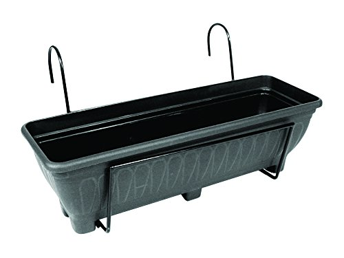 Garden Pride Hanging Balcony Planter - 60cm Trough holder for use on balconies, fences or railings. An ideal alternative to a window box. (Black)
