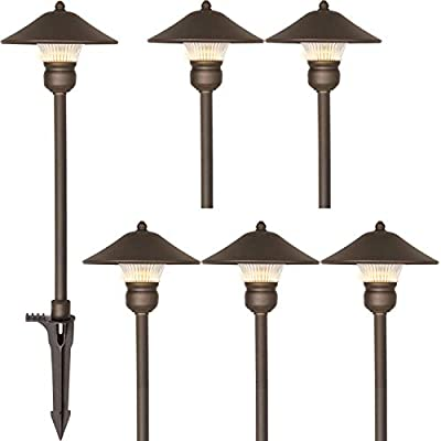 Hykolity 6 Pack Low Voltage LED Landscape Pathway Light, 3W 150LM 12V Wired for Outdoor Yard Lawn, Die-cast Aluminum Construction, 30-Watt Equivalent 15-Year Lifespan