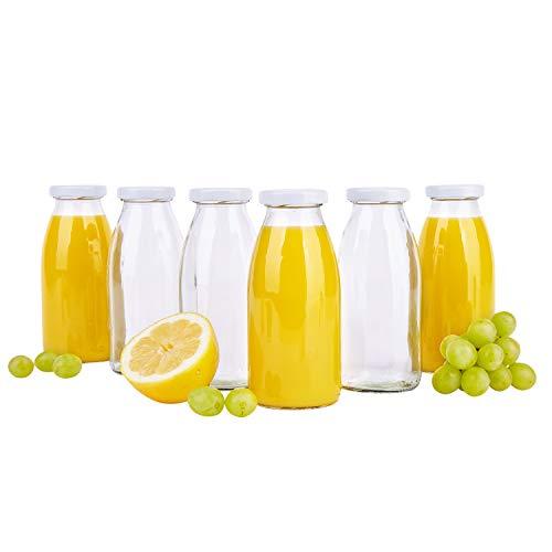 MamboCat 6er Set Saftflaschen 250 ml + Twist-Off Deckel TO43 weiß I bauchige Glasform I Glasflasche zum Befüllen I Karaffe I Milchflasche I Deko-Vase I Trinkflasche I Schüttdosen