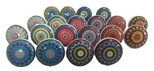 Ajuny Juego de 20 pomos de cerámica multicolor con diseño vintage de flores