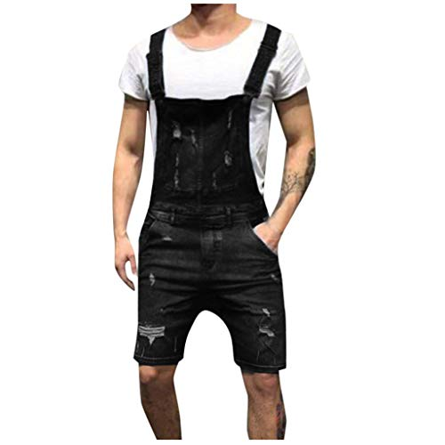 Azruma Herren-Latzhose-Overall-Latzshorts-Arbeitshosen Jeans Jumpsuit Overall Shorts Lightwash Hosenträger Kurze Jeanshose Denim Latzshorts Freizeit Jeans Distressed Ripped Denim Hose