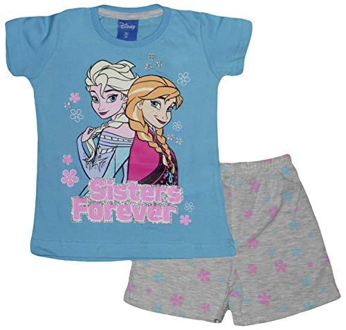 Disney Schlafanzug Die Eiskönigin Anna Elsa, kurz Gr. 8 Jahre, blau