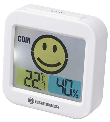 Bresser Temeo Smile Thermometer Hygrometer mit Raumklimaindikator zum Vorbeugen von Schimmel, weiß