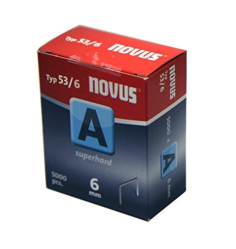 Novus Feindrahtklammern 6 mm, Sparverpackung, 5000 Tacker-Klammern vom Typ 53/6, Heftmittel aus Stahldraht