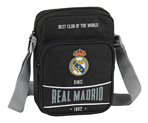 safta 612024672 Bandolera pequeña Real Madrid CF, Negro